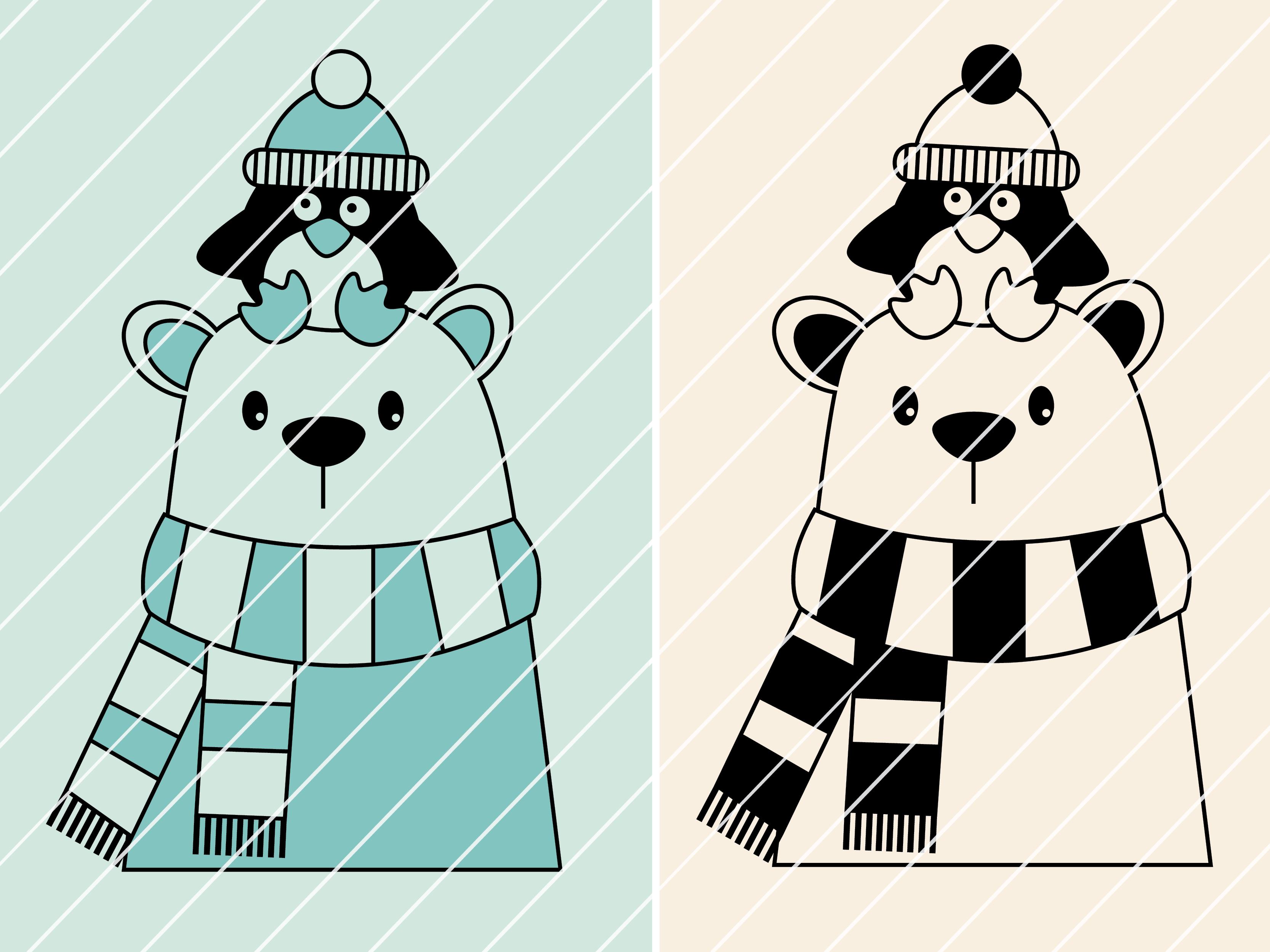 """Plottervorlage """"Eisbär Oskar & Pinguin Emil"""" Variante 1   Frau Fadenschein"""