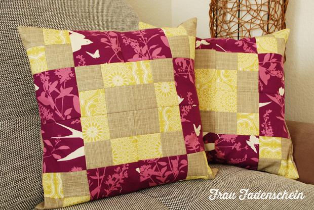 patchworkfieber mein erster versuch an einem patchwork kissen frau fadenschein. Black Bedroom Furniture Sets. Home Design Ideas