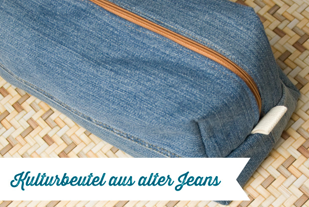 Kulturbeutel Aus Alter Jeans Upcycling Frau Fadenschein