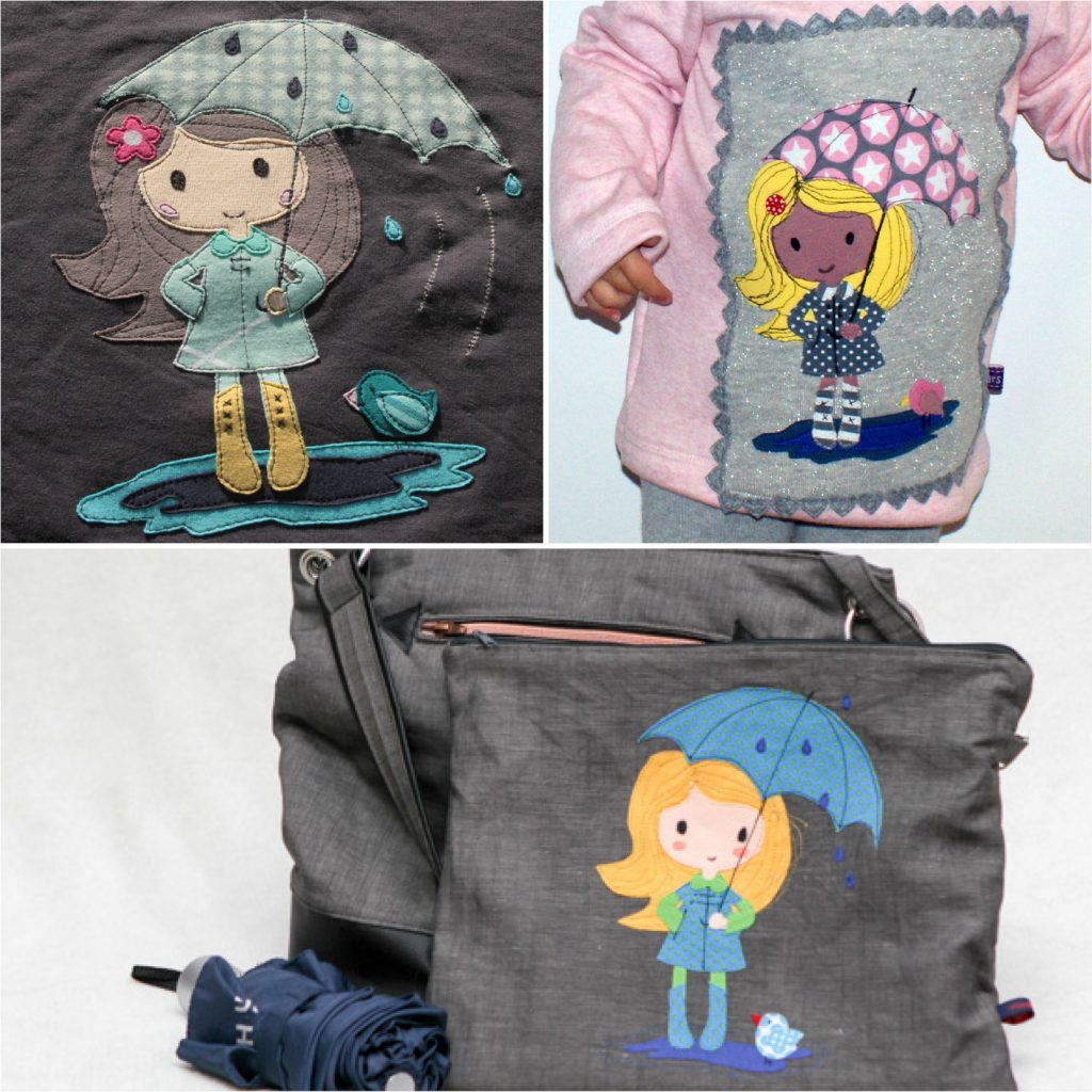 """Applikationsvorlage """"Mimi unterm Regenschirm"""""""