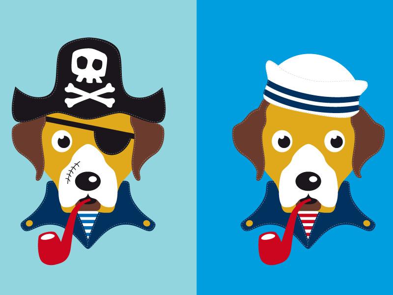 """Applikationsvorlage """"Hund Theo auf hoher See"""""""