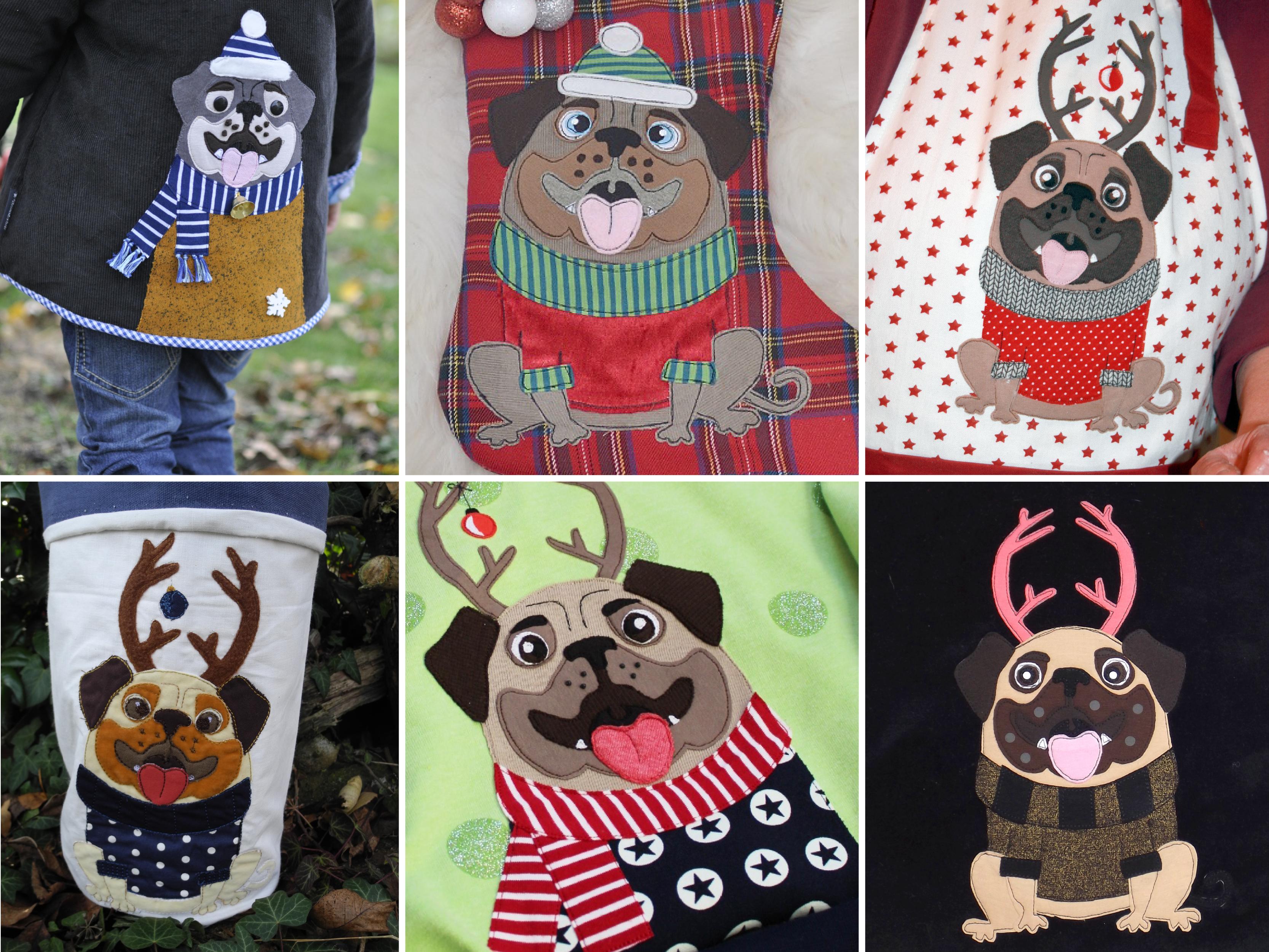 """Applikationsvorlage """"Knut, der Weihnachtsmops"""""""