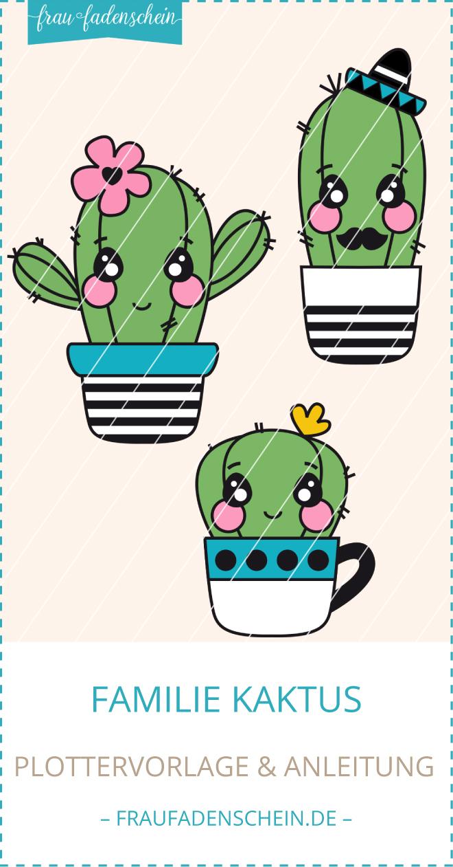 Plottervorlage Familie Kaktus