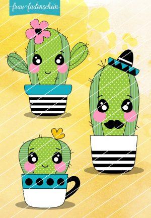 Applikationsvorlage Familie Kaktus