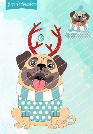 Applikationsvorlage Knut - der Weihnachtsmops