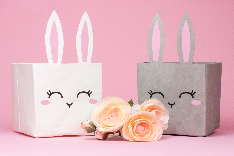 Hasen-Utensilo für Ostern nähen - Schnittmuster kostenlos