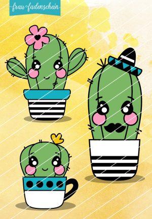 Plotterdatei Familie Kaktus